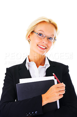 Buy stock photo Portrait of a smiling businesswoman holding paperwork isolated on a white background.