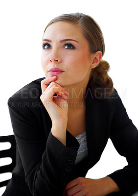 Buy stock photo Shot of a thoughtful-looking young businesswoman