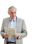 Senior businessman with a newspaper looking at copyspace on white