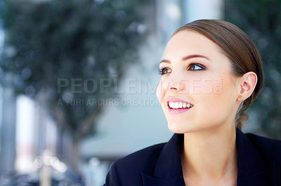 Buy stock photo Shot of a smiling young businesswoman