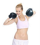 Active female wearing boxing gloves against white
