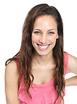 Smiling casual young female isolated against white