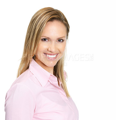 Buy stock photo Portrait of an elegant young female smiling against white background