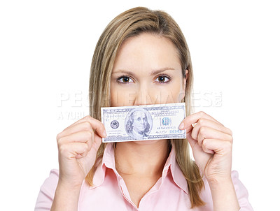 Buy stock photo Woman holding a hundred dollar bill over her mouth