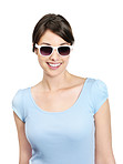 Sweet female wearing sunglasses isolated against white