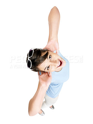 Buy stock photo Top view of a cute excited female with sunglasses against white