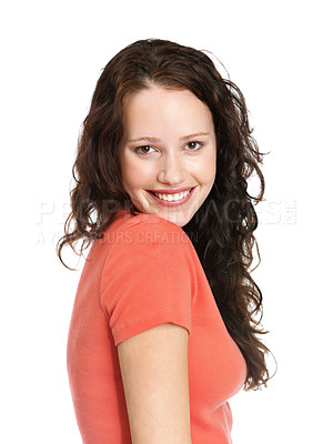 Buy stock photo Portrait of a pretty young lady posing against white background