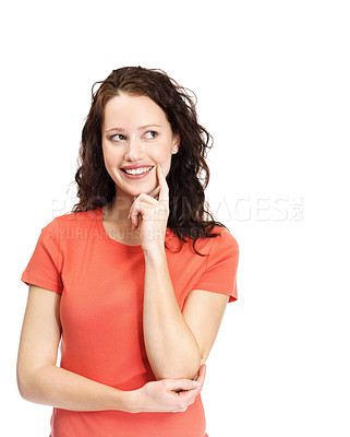 Buy stock photo Portrait of a happy young female thinking about copyspace