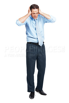 Buy stock photo Full length shot of a businessman covering his ears isolated on white