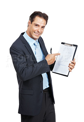 Buy stock photo Portrait of a businessman pointing at a clipboard against a white background