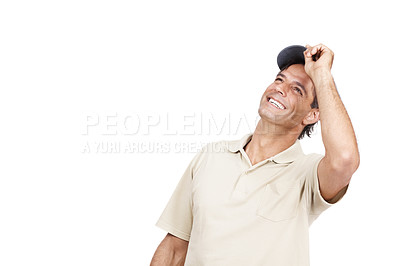 Buy stock photo Studio shot of a man wearing a cap standing against a white background