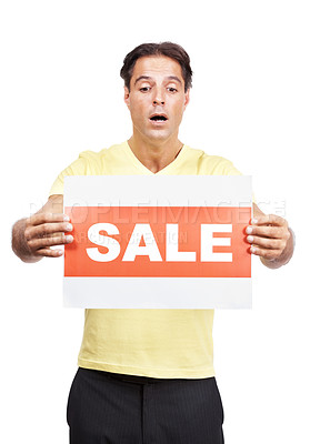 Buy stock photo Studio shot of a man holding a sale sign against a white background