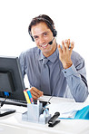 Smiling mature businessman working in office