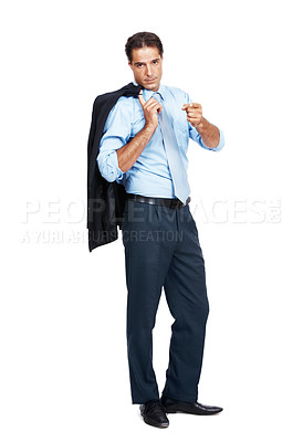 Buy stock photo A mature businessman holding his jacket over his shoulder pointing at the camera