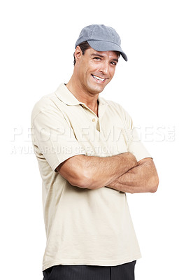 Buy stock photo Portrait of a mature man in casual wear standing with his arms crossed against a white background