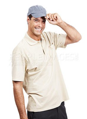 Buy stock photo Portrait of a mature man wearing a cap standing against a white background