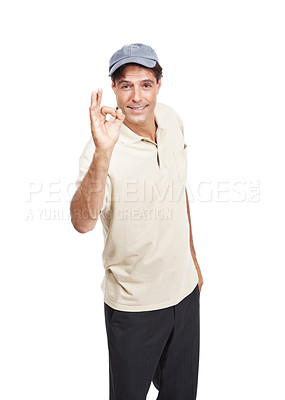 Buy stock photo Portrait of a mature man in casual wear showing the OK sign against a white background