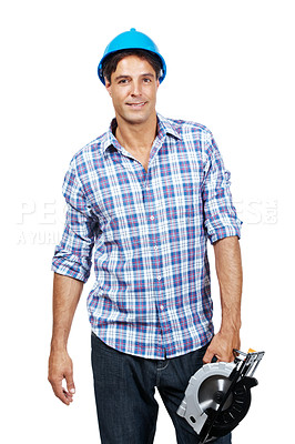 Buy stock photo Portait of manual worker holding a circular cutting saw isolated on white background