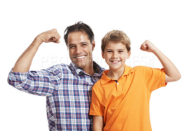 Buy stock photo Portrait of happy father and son flexing their biceps isolated on white background