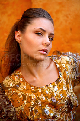Buy stock photo Portrait of a stylishly dressed young woman