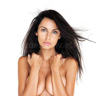 Buy stock photo Portrait of a hot young female covering her big breast with hands