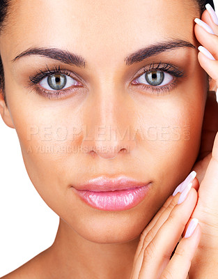 Buy stock photo Closeup portrait of a gorgeous young female with her hands on cheeks