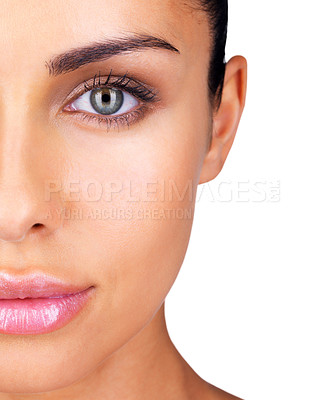 Buy stock photo Cropped image of a lovely young woman face against white background