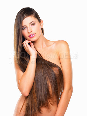 Buy stock photo Portrait of nude woman with shiny long hair on white background