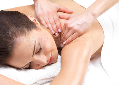 Buy stock photo Beautiful woman getting a massage - Portrait of a pretty young girl getting a massage at the day spa