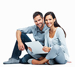 Cute couple using laptop