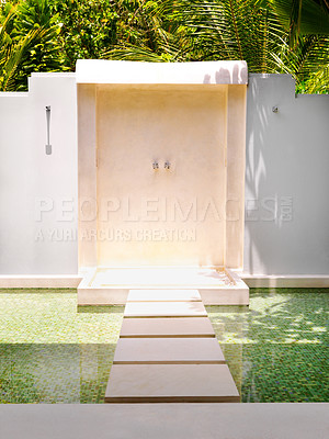 Buy stock photo Picture of outdoor shower at a luxury holiday resort
