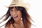 Happy excited woman wearing a straw hat against white