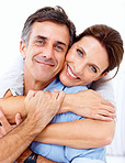 Happy mature couple together at home