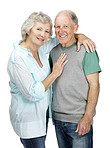 Smiling senior couple standing together