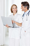 Mature doctor with a female colleague using a laptop
