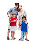 Mature family standing together on white background