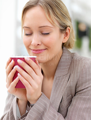 Buy stock photo Close-up portrait of young beautiful woman drinking coffee
