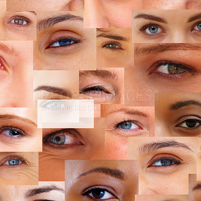 Buy stock photo Hyphen sign mark against background of different human eyes - Montage