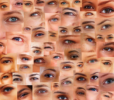 Buy stock photo Collection and collage of different people eyes - Creative background