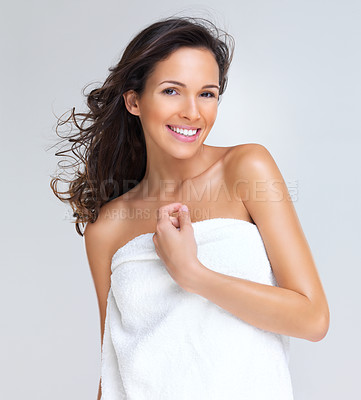 Buy stock photo Portrait of beautiful young woman in towel