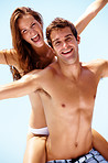 Happy young couple having fun on holiday