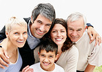 Portrait of a cheerful loving couple with parents and son