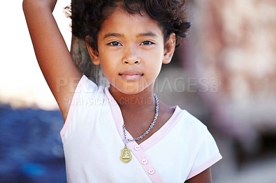 Buy stock photo Portrait of a little girl from rural Thailand looking at you
