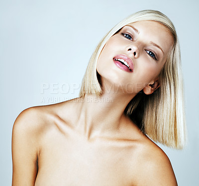 Buy stock photo Head and shoulders of a gorgeous nude woman isolated on grey