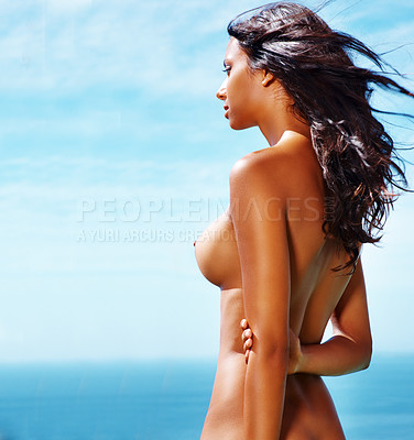 Buy stock photo Back angle of nude woman looking thoughtful and looking at nature with copyspace