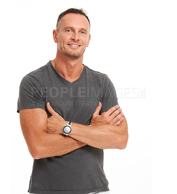 Buy stock photo Confident mature man standing with his arms folded isolated on white