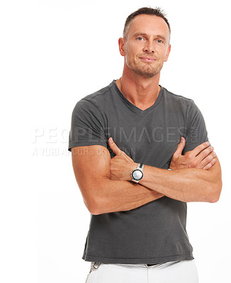Buy stock photo Confident mature man standing with his arms crossed - isolated on white