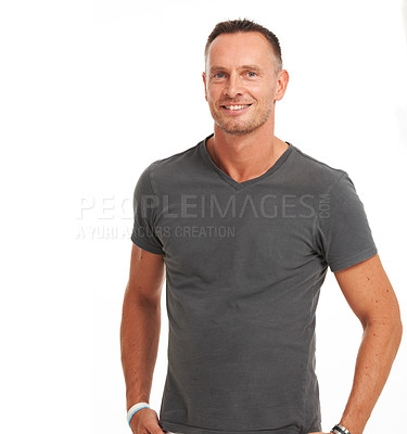 Buy stock photo Handsome mature man smiling while isolated on white