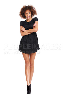 Buy stock photo Cute young woman posing with her arms folded while smiling - isolated on white copyspace