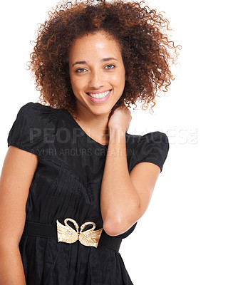 Buy stock photo Cute young woman standing smiling while isolated over white